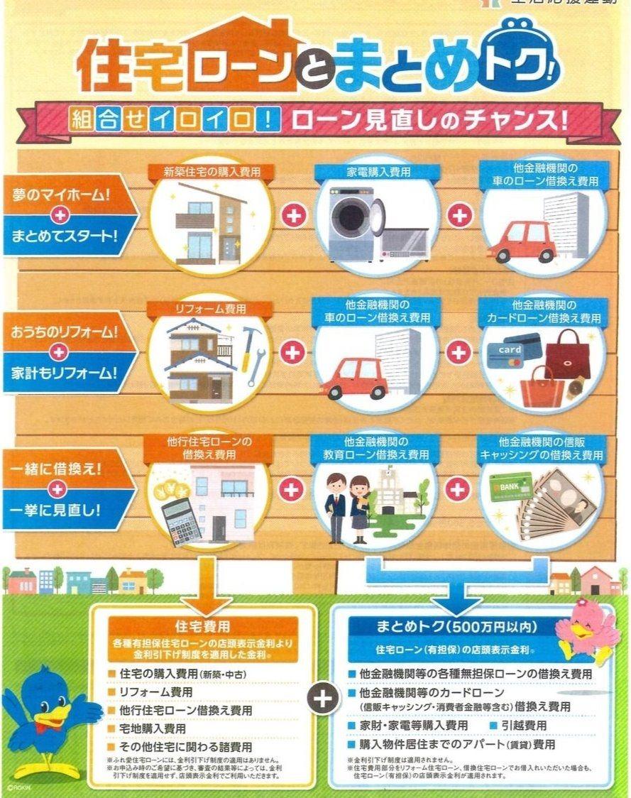 東海ろうきんなら、500万円以内なら住宅ローンと一緒にまとめることが出来ます!